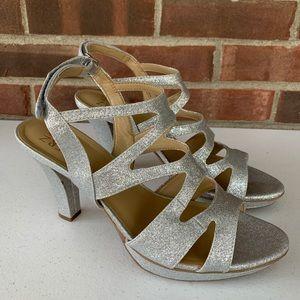 Naturalizer silver glitter platform heeled sandals